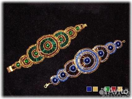 """Браслет  """"Восточный танец """".  1. Зеленый стеклярус, золотой бисер, бордовая рубка (Чехия)."""