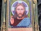 Икона Иисуса вышитая бисером