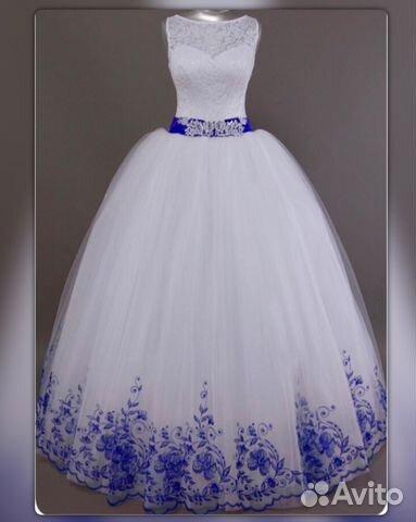 5497a6c41da Белое с синим свадебное платье новое купить в Москве на Avito ...