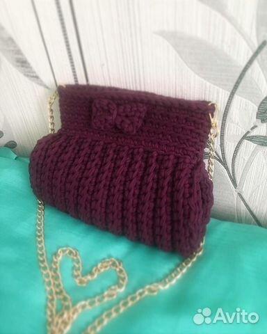 Handbag made of knitted yarn