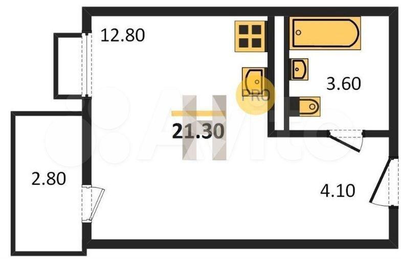 Квартира-студия, 21 м², 1/9 эт.  89184930331 купить 9