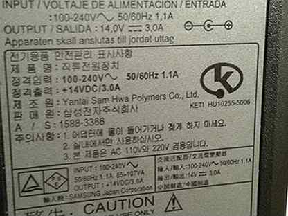 Блок питания SAMSUNG SAD04214A-UV 14V 3A оригинал